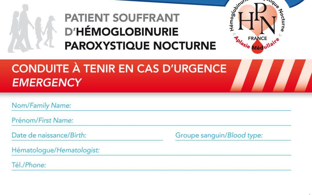 Conduite en cas d'urgence – Carte pour Patient HPN – A supprimer?