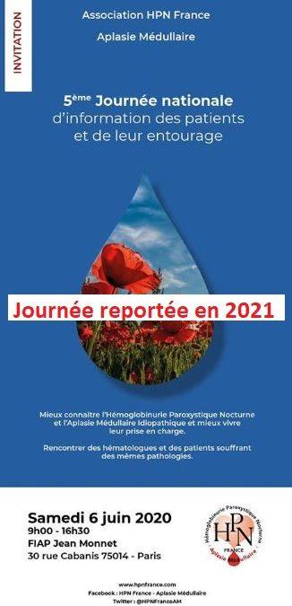 5ème journée de rencontre Médecins-Patients de notre Association HPN – AM le 6 Juin 2020 =>Journée Reportée en Juin 2021