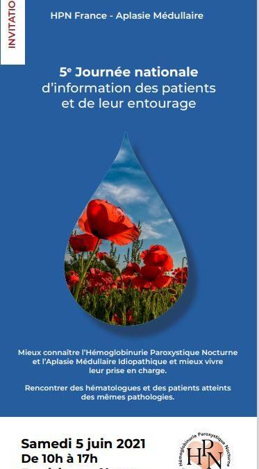 5ème journée de rencontre Médecins-Patients de notre Association HPN France–Aplasie Médullaire le 5 Juin 2021